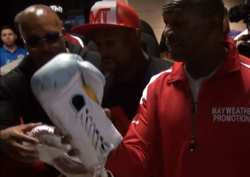 mayweather reveals glove size