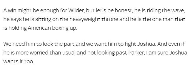 Froch On What Wilder