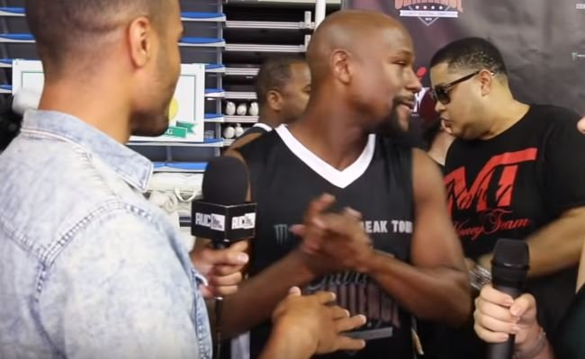 mayweather walks out on interview when asked about pacquiao