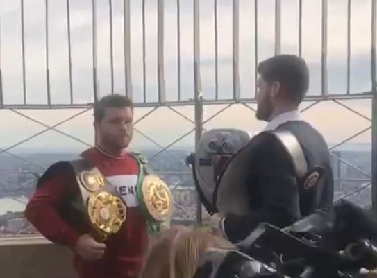 Watch Canelo and Rocky Fielding Come Face To Face For The First Time