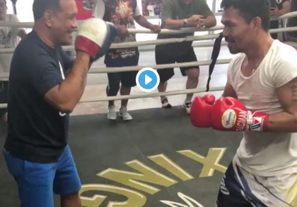 Pacquiao Posts Day 1 Training Clip For Broner Fight - People Saying The Same Thing
