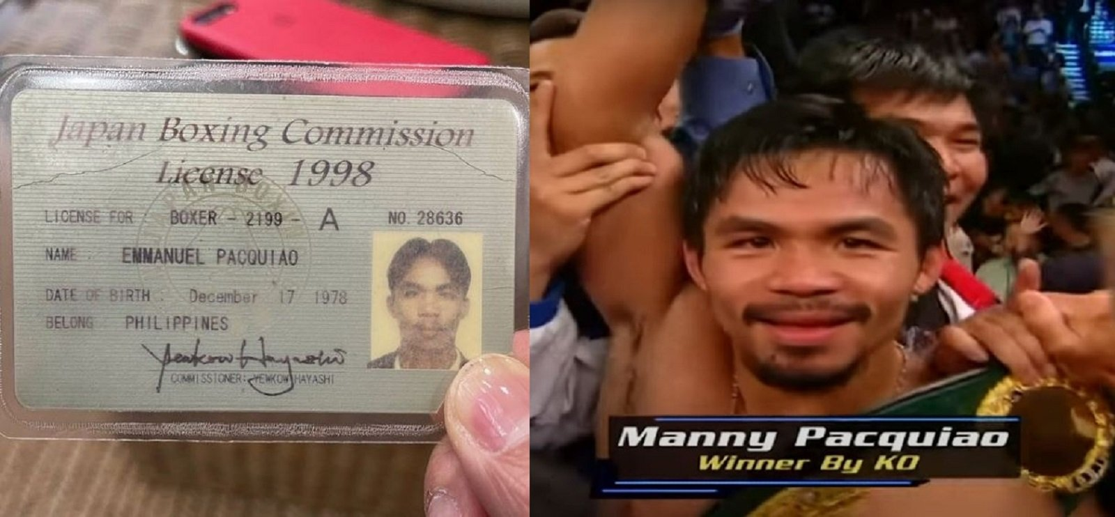 Pacquiao Reveals Old Japanese Boxing License and Story To Go With It