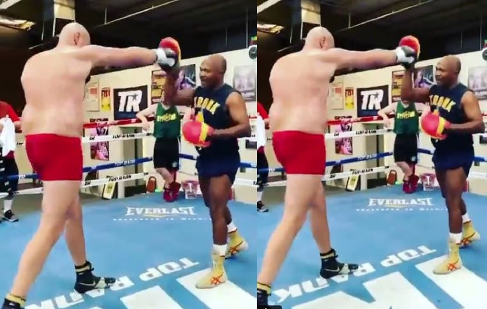Tyson Fury Practices Straight Right Hand and Footwork For Joshua-min