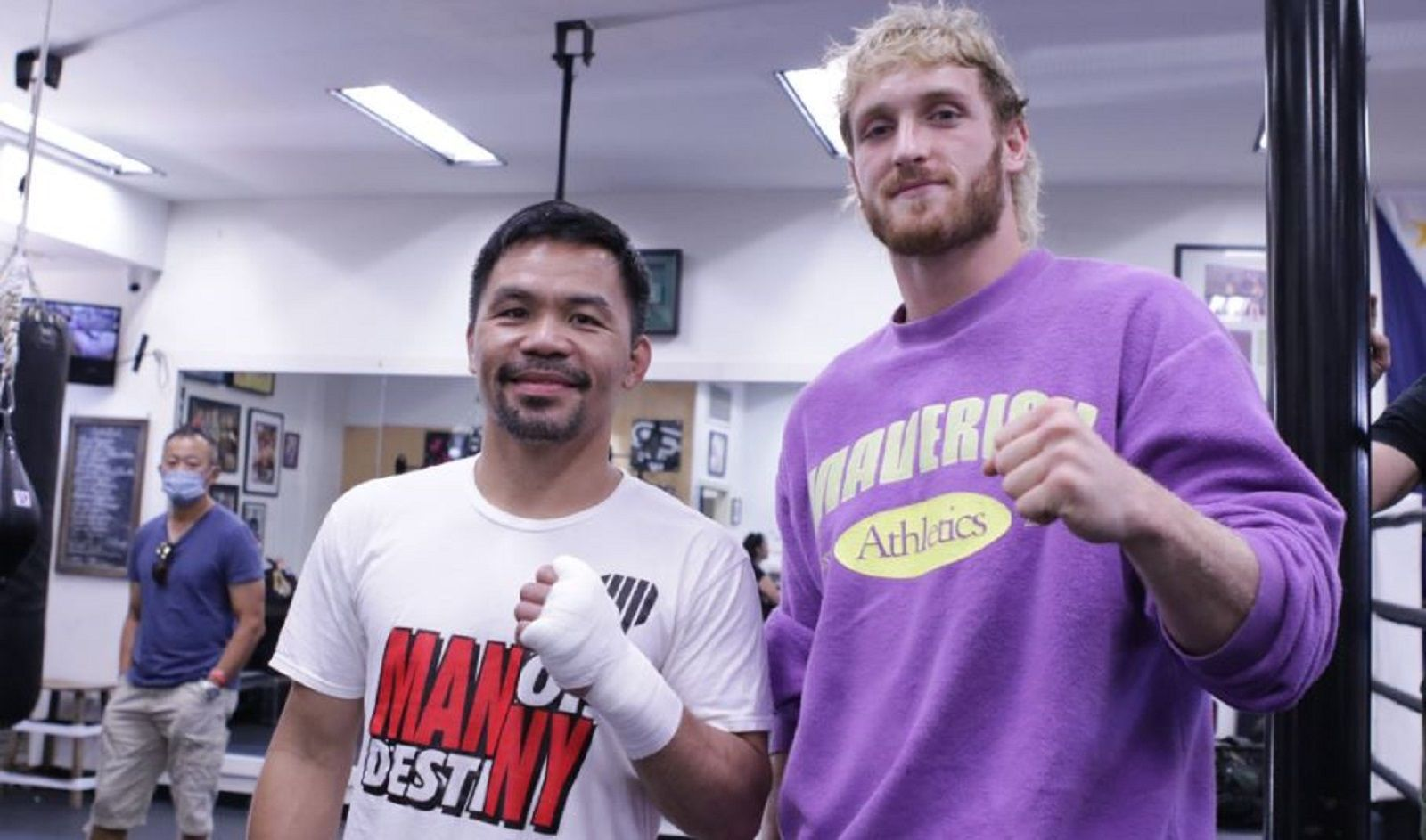 Logan Paul Stops By At Freddie Roach Gym For Pacquiao Camp
