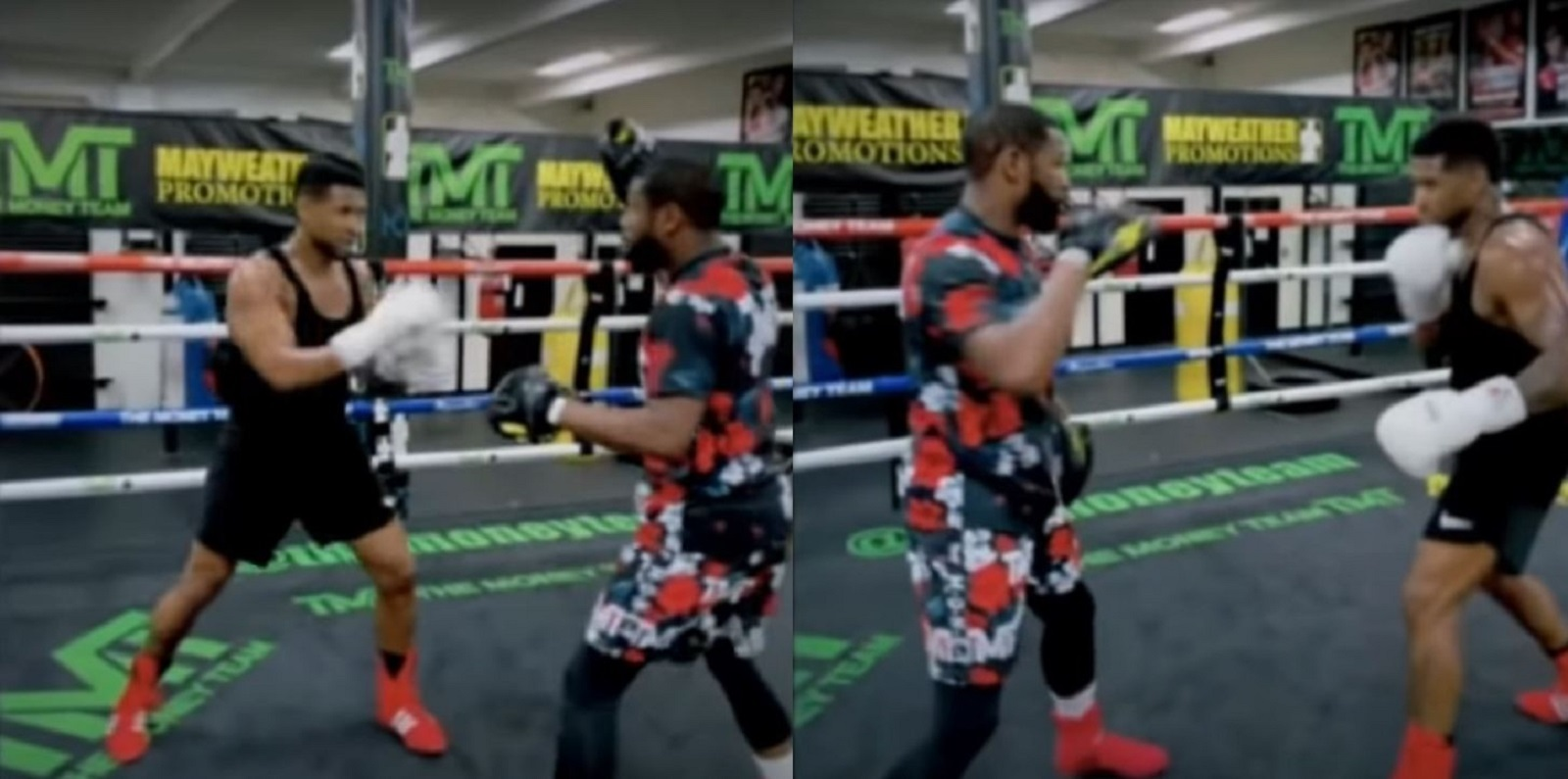 Floyd Mayweather Trains Celebrity On The Pads
